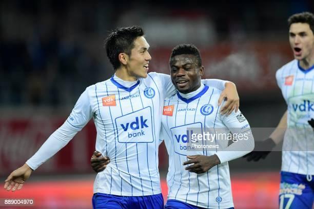 Yuya Kubo forward of KAA Gent celebrates scoring a goal with Simon Moses forward of KAA Gent during the Jupiler Pro League match between KAA Gent and...