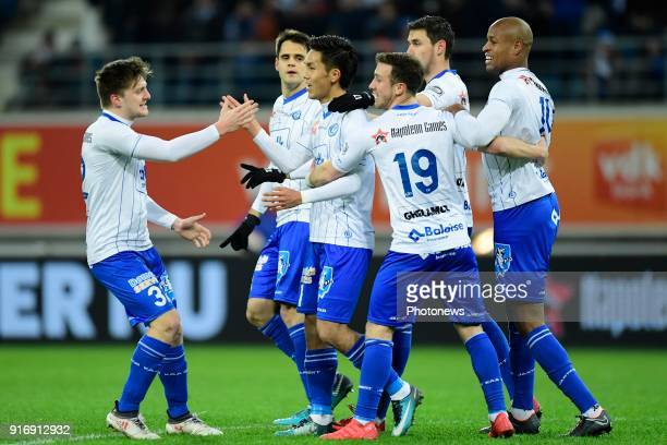 Yuya Kubo forward of KAA Gent celebrates scoring the opening goal with teammates during the Jupiler Pro League match between KAA Gent and Sint...