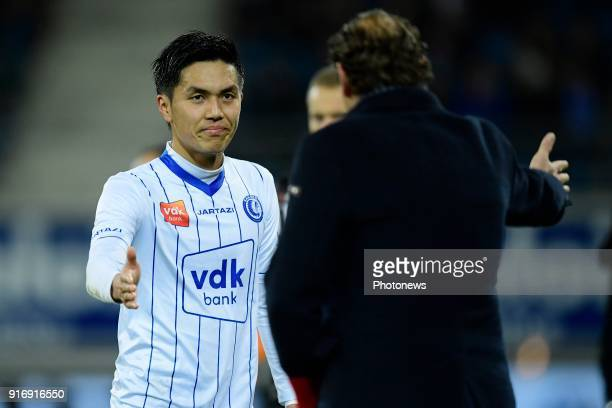 Yuya Kubo forward of KAA Gent leaves the field after substitution during the Jupiler Pro League match between KAA Gent and Sint Truidense VV at the...