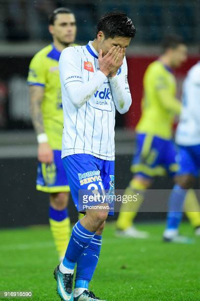 Yuya Kubo forward of KAA Gent looks dejected after missing an opportunity during the Jupiler Pro League match between KAA Gent and Sint Truidense VV...