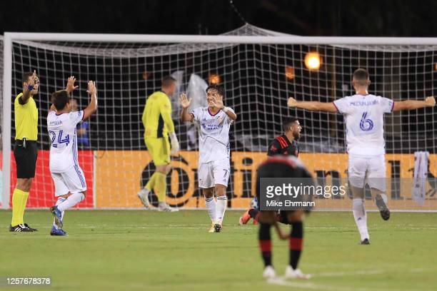 Yuya Kubo of FC Cincinnati celebrates after scoring the opening goal of the match against New York Red Bulls as part of MLS Is Back Tournament at...