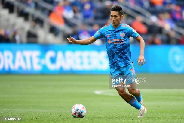 Yuya Kubo of FC Cincinnati controls the ball during a game between FC Cincinnati and the New England Revolution at TQL Stadium on May 29, 2021 in...