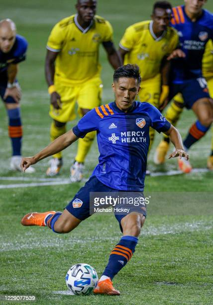 Yuya Kubo of FC Cincinnati kicks and scores on a penalty kick during the first half against the Columbus Crew at Nippert Stadium on October 14, 2020...