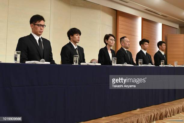 Japan Basketball Association Chairman Yuko Mitsuya and Technical Director Tomoya Higashino bows for apology during a press conference on August 20...