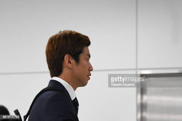 Yuya Osako is seen on arrival at Narita International Airport on July 5 2018 in Narita Narita Japan