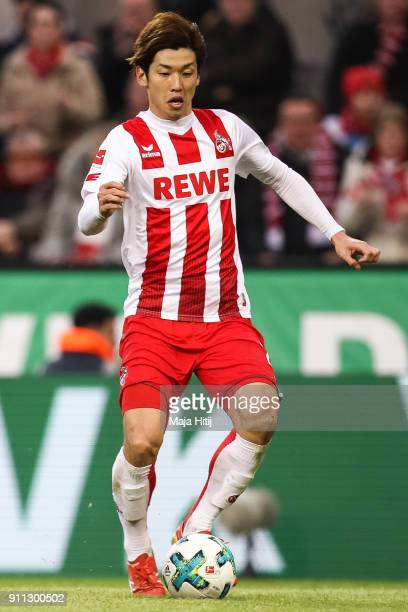 Yuya Osako of 1FC Koeln controls the ball during the Bundesliga match between 1 FC Koeln and FC Augsburg at RheinEnergieStadion on January 27 2018 in...