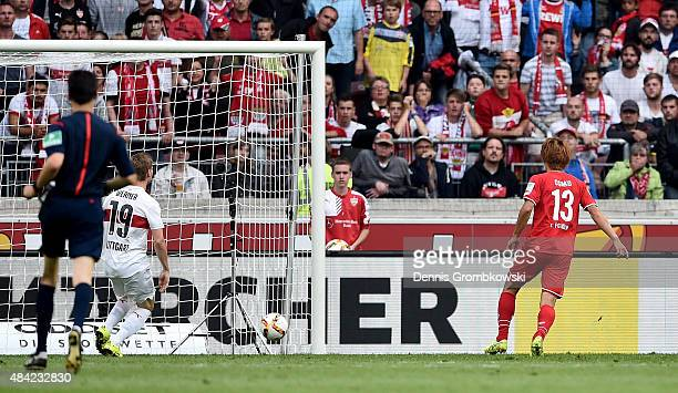 Yuya Osako of 1FC Koeln scores his teams third goal during the Bundesliga match between VfB Stuttgart and 1 FC Koeln at MercedesBenz Arena on August...