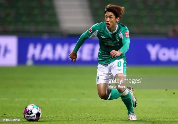 Yuya Osako of Bremen controls the ball during the Bundesliga match between SV Werder Bremen and 1. FC Koeln at Wohninvest Weserstadion on November...