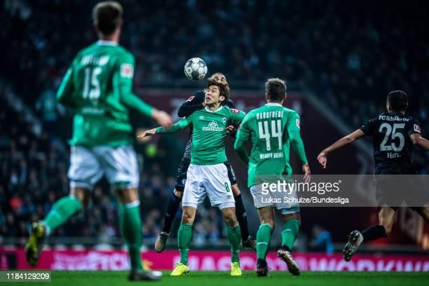 Yuya Osako of Bremen in action during the Bundesliga match between SV Werder Bremen and FC Schalke 04 at Wohninvest Weserstadion on November 23, 2019...