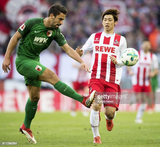 Yuya Osako of Cologne is seen in action in the first half of a 11 draw with Augsburg in a German Bundesliga football match in Cologne on Jan 27 2018...