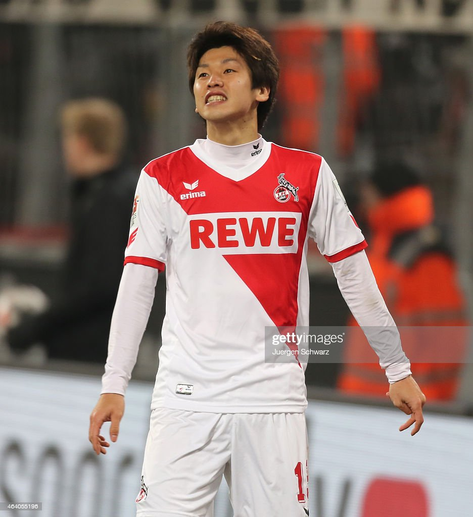 Yuya Osako of Cologne reacts after failing to score during the Bundesliga match between 1. FC Koeln and Hannover 96 at RheinEnergieStadion on February 21, 2015 in Cologne, Germany.