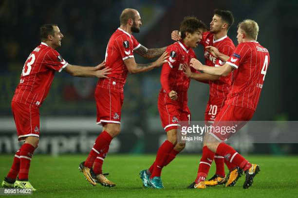 Yuya Osako of FC Koeln celebrates after scoring his sides second goal during the UEFA Europa League group H match between 1 FC Koeln and BATE Borisov...