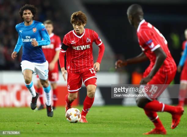 Yuya Osako of FC Koeln in action during the UEFA Europa League group H match between 1 FC Koeln and Arsenal FC at RheinEnergieStadion on November 23...