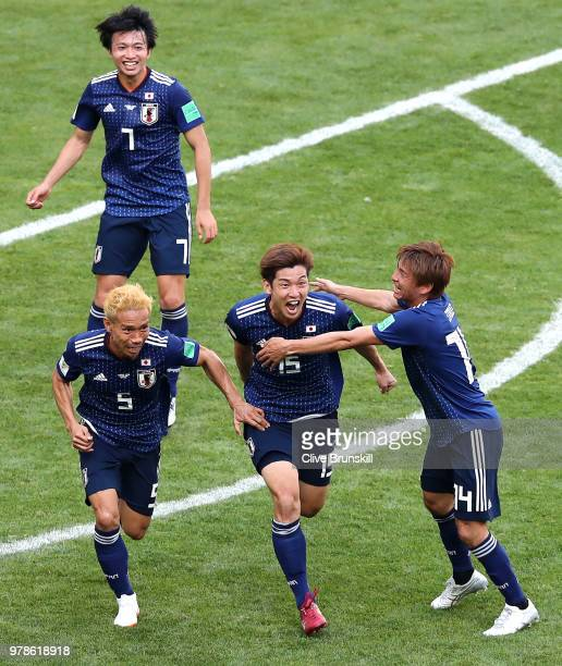 Keisuke Honda of Japan looks on from the bench prior to he 2018 FIFA World Cup Russia group H match between Colombia and Japan at Mordovia Arena on...