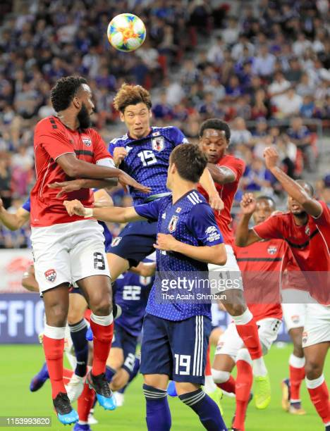 Yuya Osako of Japan heads the ball during the international friendly match between Japan and Trinidad Tobago at Toyota Stadium on June 5 2019 in...