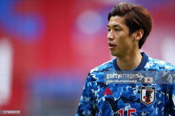 Yuya Osako of Japan looks on during the international friendly match between Japan and Cameroon at Stadion Galgenwaard on October 09, 2020 in...