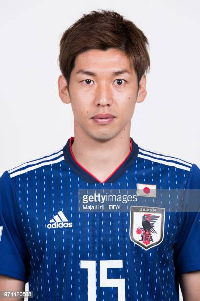 Yuya Osako of Japan poses for a portrait during the official FIFA World Cup 2018 portrait session at the FC Rubin Training Grounds on June 14 2018 in...