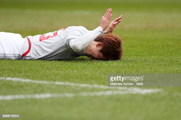 Yuya Osako of Japan reacts after missing a chance to score during the International friendly match between Japan and Mali at the Stade de Sclessin on...