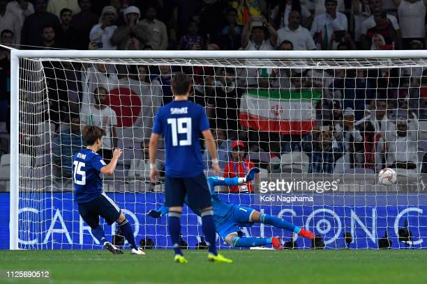 Yuya Osako of Japan scores his and his sides second goal during the AFC Asian Cup semi final match between Iran and Japan at Hazza Bin Zayed Stadium...