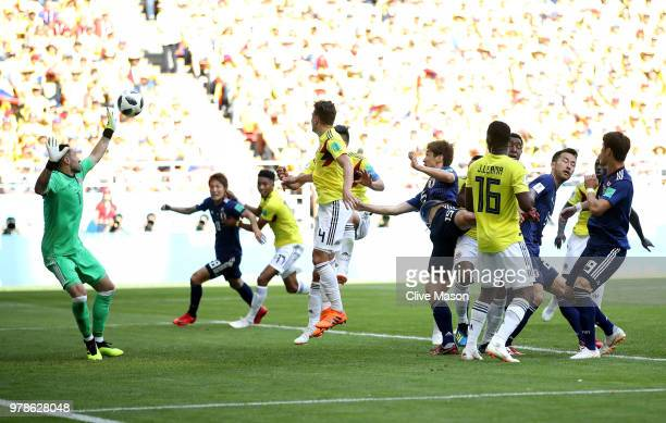 Yuya Osako of Japan scores the 2nd Japan goal during the 2018 FIFA World Cup Russia group H match between Colombia and Japan at Mordovia Arena on...