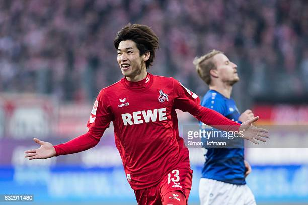 Yuya Osako of Koeln celebrates his team's fourth goal during the Bundesliga match between SV Darmstadt 98 and 1 FC Koeln at JonathanHeimesStadion am...