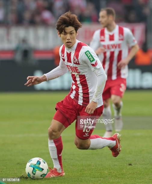 Yuya Osako of Koeln controls the ball during the Bundesliga match between 1 FC Koeln and FC Augsburg at RheinEnergieStadion on January 27 2018 in...
