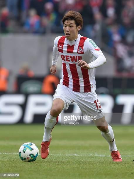 Yuya Osako of Koeln controls the ball during the Bundesliga match between 1 FC Koeln and VfB Stuttgart at RheinEnergieStadion on March 4 2018 in...