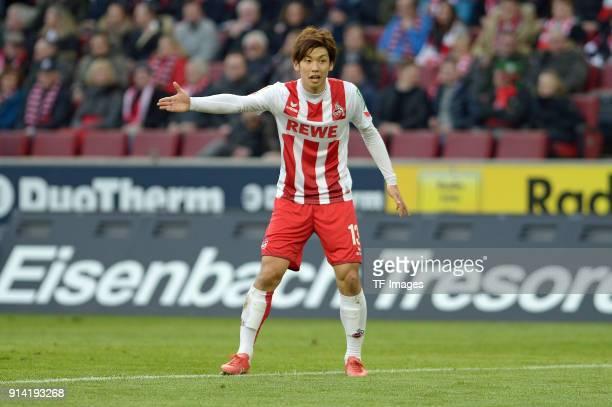 Yuya Osako of Koeln gestures during the Bundesliga match between 1 FC Koeln and FC Augsburg at RheinEnergieStadion on January 27 2018 in Colonge...