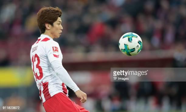 Yuya Osako of Koeln looks on the ball during the Bundesliga match between 1 FC Koeln and FC Augsburg at RheinEnergieStadion on January 27 2018 in...