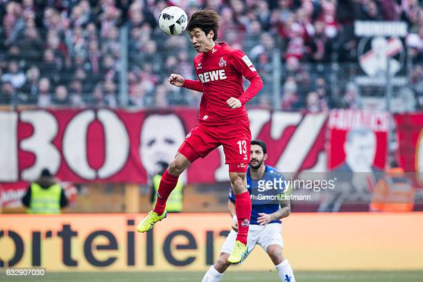 Yuya Osako of Koeln scores his team's second goal with a header during the Bundesliga match between SV Darmstadt 98 and 1 FC Koeln at...