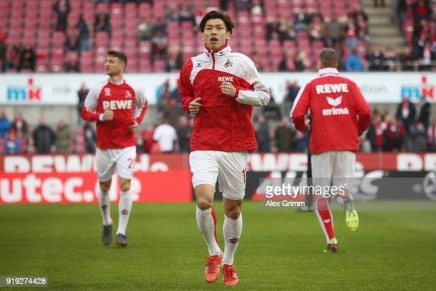 Yuya Osako of Koeln warms up for the Bundesliga match between 1 FC Koeln and Hannover 96 at RheinEnergieStadion on February 17 2018 in Cologne Germany