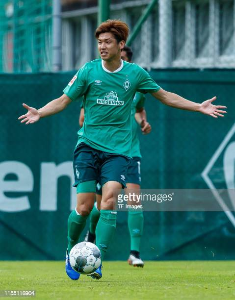 Yuya Osako of SV Werder Bremen gestures during the friendly match between SV Werder Bremen and WSG Wattens at Parkstadion Zell Am Ziller on July 07...