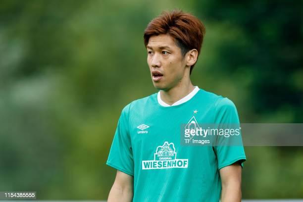 Yuya Osako of SV Werder Bremen looks on during the friendly match between SV Werder Bremen and WSG Wattens at Parkstadion Zell Am Ziller on July 07...