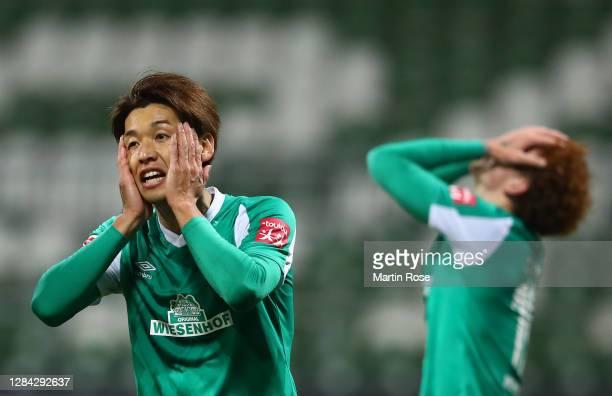 Yuya Osako of SV Werder Bremen reacts during the Bundesliga match between SV Werder Bremen and 1. FC Koeln at Wohninvest Weserstadion on November 06,...