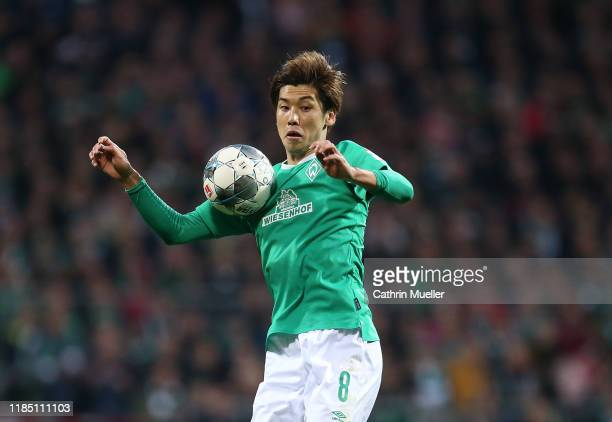 Yuya Osako of Werder Bremen in action during the Bundesliga match between SV Werder Bremen and Sport-Club Freiburg at Wohninvest Weserstadion on...