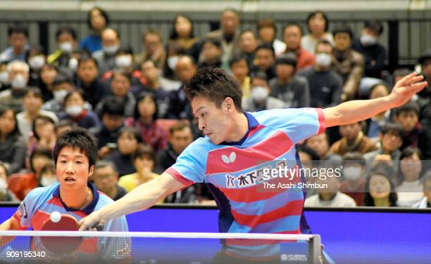 Yuya Oshima and Jun Mizutani compete in the Men's Doubles final against Jin Ueda and Masaki Yoshida during day six of the All Japan Table Tennis...
