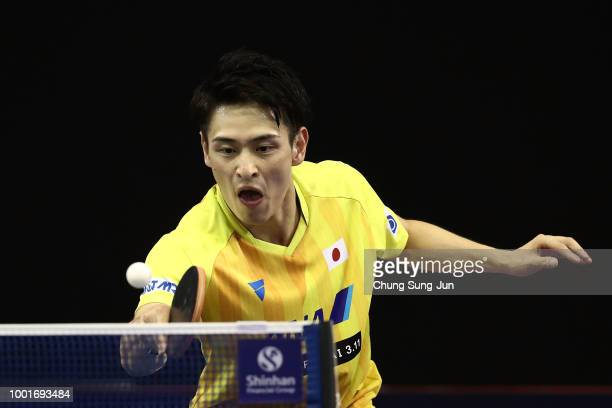 Yuya Oshima of Japan competes against Jin Ueda of Japan in the Men's Single on day one of the Shinhan Korea Open at Daejeon Hanbat Stadium on July 19...