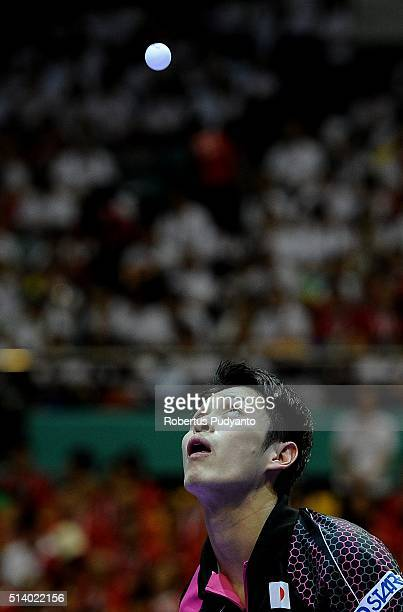 Yuya Oshima of Japan competes against Zhang Jike of China during the 2016 World Table Tennis Championship Men's Team Division final match at Malawati...