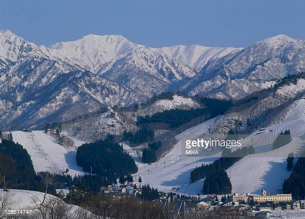 yuzawa park ski resort, yuzawa, minamiuonuma, niigata, japan - 新潟県 ストックフォトと画像