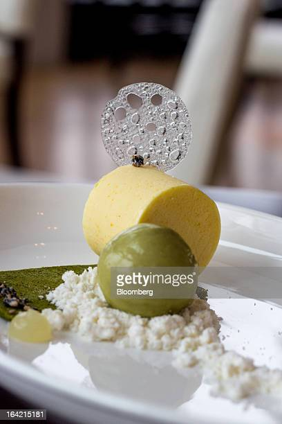 A yuzu parfait is served at Gaonnuri in New York US on Monday March 18 2013 The dessert comes with a green tea biscuit candied black sesame and green...