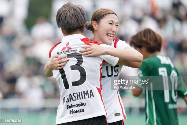 Yuzuho Shiokoshi of Mitsubishi Heavy Industries Urawa Reds Ladies celebrates after scoring her team's second goal during the WE League match between...
