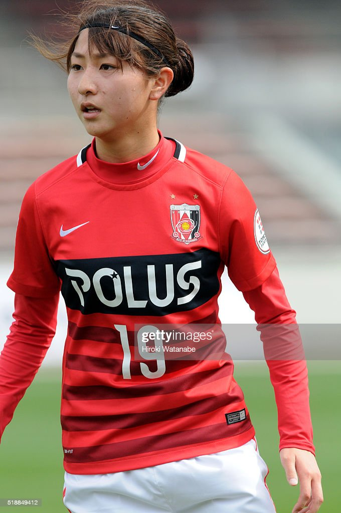 Yuzuho Shiokoshi of Urawa Reds in action during the Nadeshiko League match between Urawa Red Diamonds Ladies and Albirex Niigata Ladies at the Saitama Komaba Stadium on April 3, 2016 in Saitama, Japan.