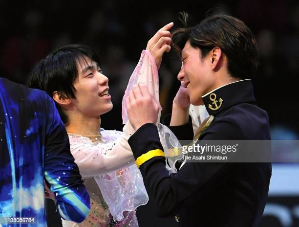 Yuzuru Hanyu and Keiji Tanaka of Japan attend the exhibition gala on day five of the 2019 ISU World Figure Skating Championships at Saitama Super...