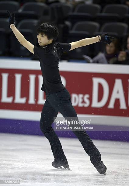 Yuzuru Hanyu competing for Japan practices at Budweiser Gardens in preparation for the 2013 World Figure Skating Championships in London, Ontario,...