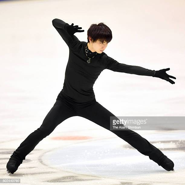 Yuzuru Hanyu in action during a training session ahead of the 2015 Japan Figure Skating Championships at the Makomanai Ice Arena on December 24 2015...