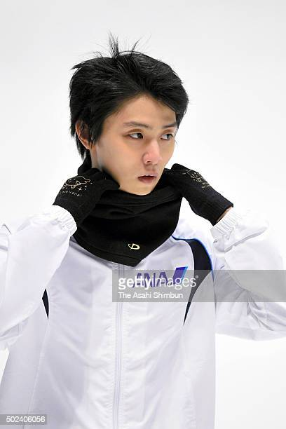Yuzuru Hanyu looks on during a training session ahead of the 2015 Japan Figure Skating Championships at the Makomanai Ice Arena on December 24 2015...