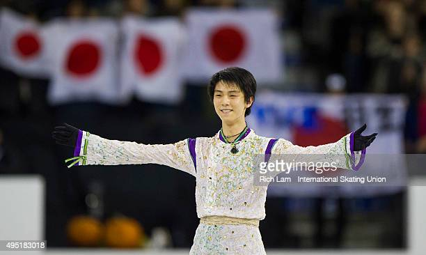 Yuzuru Hanyu of Japan acknowledges the crows after finishing the Men Free Skate on day two of Skate Canada International ISU Grand Prix of Figure...