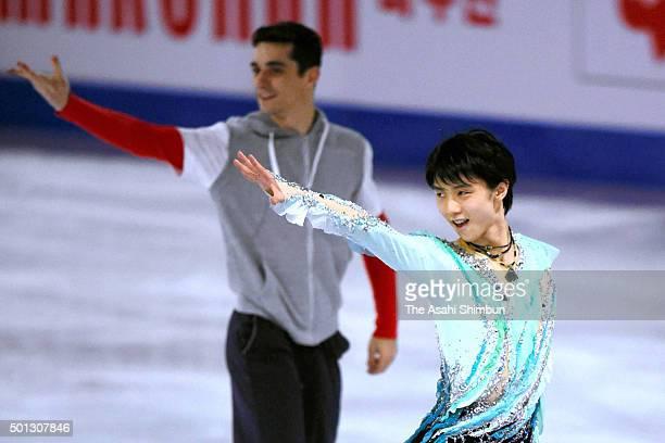 Yuzuru Hanyu of Japan applauds fans at an exhibiton gala on day 4 of the ISU Junior Senior Grand Prix of Figure Skating Final at the Barcelona...