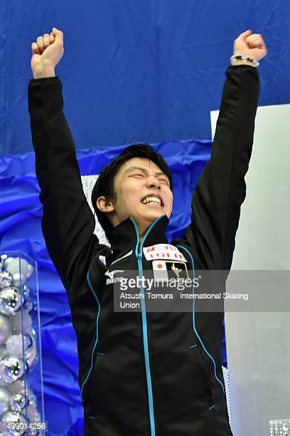 Yuzuru Hanyu of Japan celebrates after winning the NHK Trophy ISU Grand Prix of Figure Skating 2015 at the Big Hat on November 28 2015 in Nagano Japan