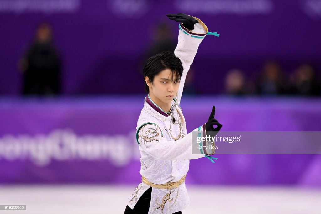 Yuzuru Hanyu of Japan competes during the Men's Single Free Program on day eight of the PyeongChang 2018 Winter Olympic Games at Gangneung Ice Arena on February 17, 2018 in Gangneung, South Korea.